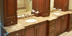 Tower cabinets add storage and beauty to this large vanity.